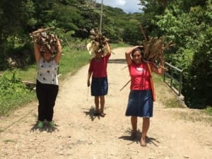 A picture of 3 women from Las Diosas in Nicaragua carrying wood from the mountain.
